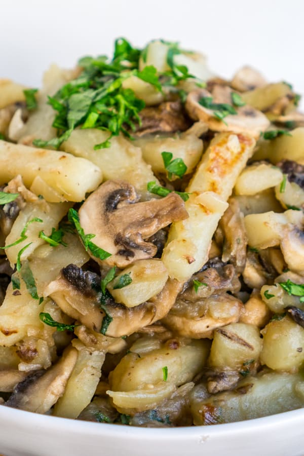 pinterest image of cooked potatoes and mushrooms