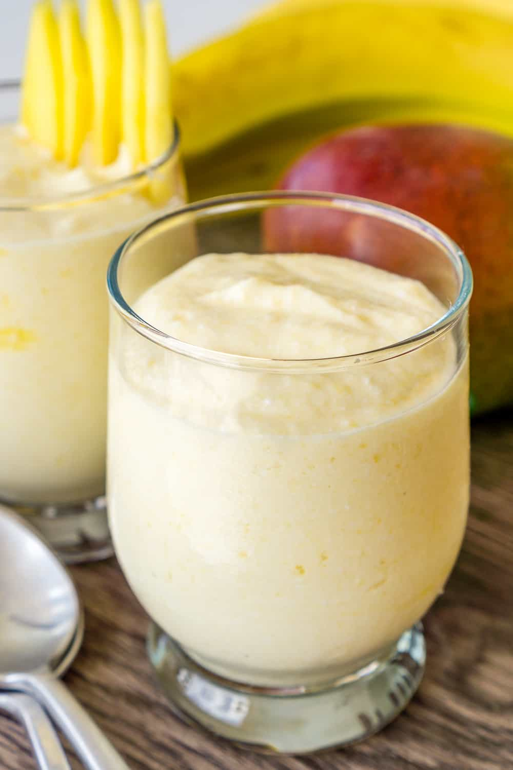 image of mango whipped cottage cheese in a glass