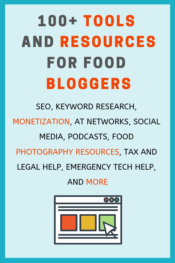 pinterest image of 100 food blogging resources
