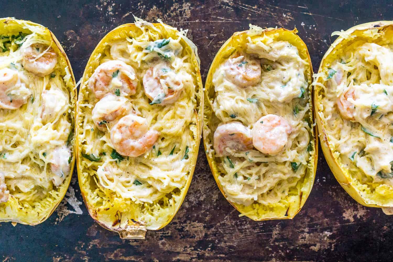 image of roasted spaghetti squash stuffed with shrimp