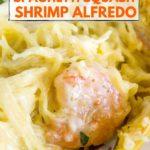 keto spaghetti squash recipe - shrimp alfredo - pinterest graphic