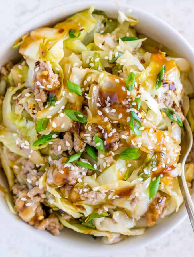 image of sweet and sour cabbage stir fry with pork in a bowl