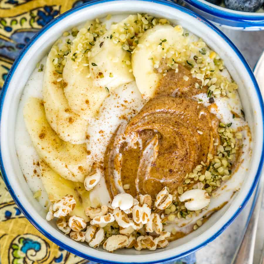 image of whipped cottage cheese bowl with almond butter and banana
