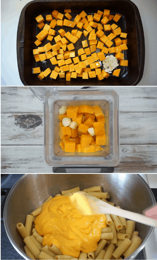 collage image of how to make butternut squash alfredo pasta step by step
