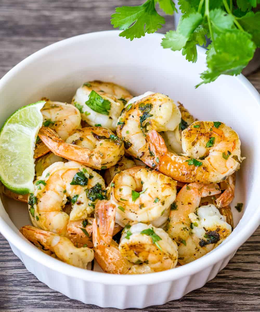 Bowl of cilantro lime shrimp.