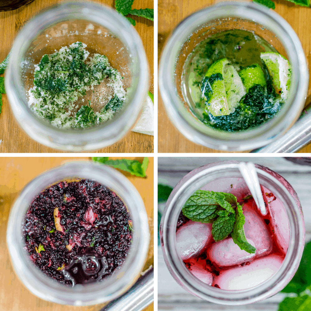 collage image of how to make mulberry mojitos