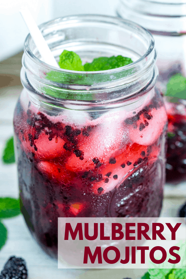 pinterest image of mulberry mojito