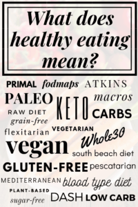 what does healthy eating mean? diet types