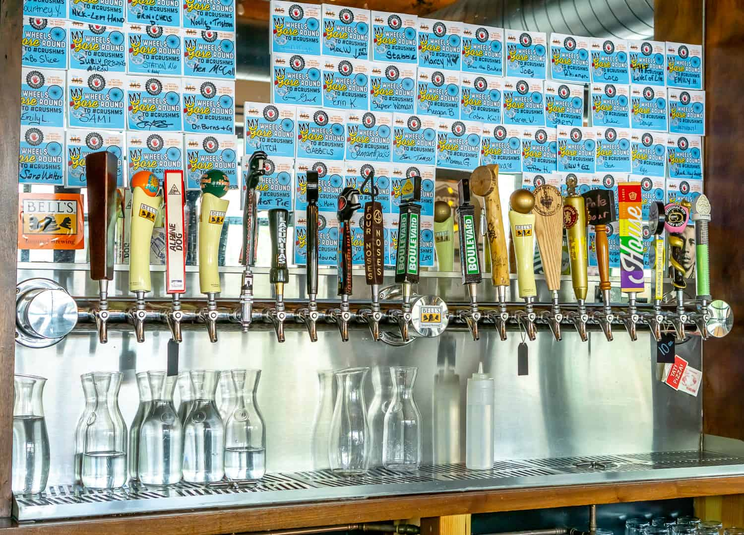 image of beers on tap at Blue Pan Pizza in Denver