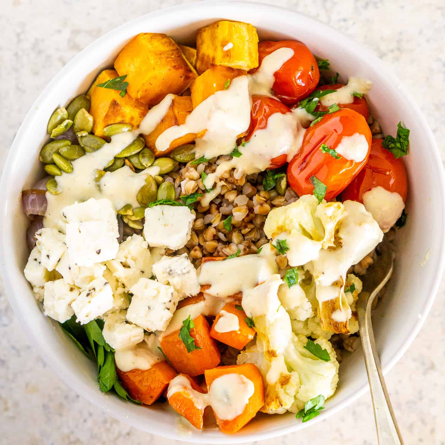 Buckwheat Bowls With Roasted Vegetables And Tahini Sauce Babaganosh