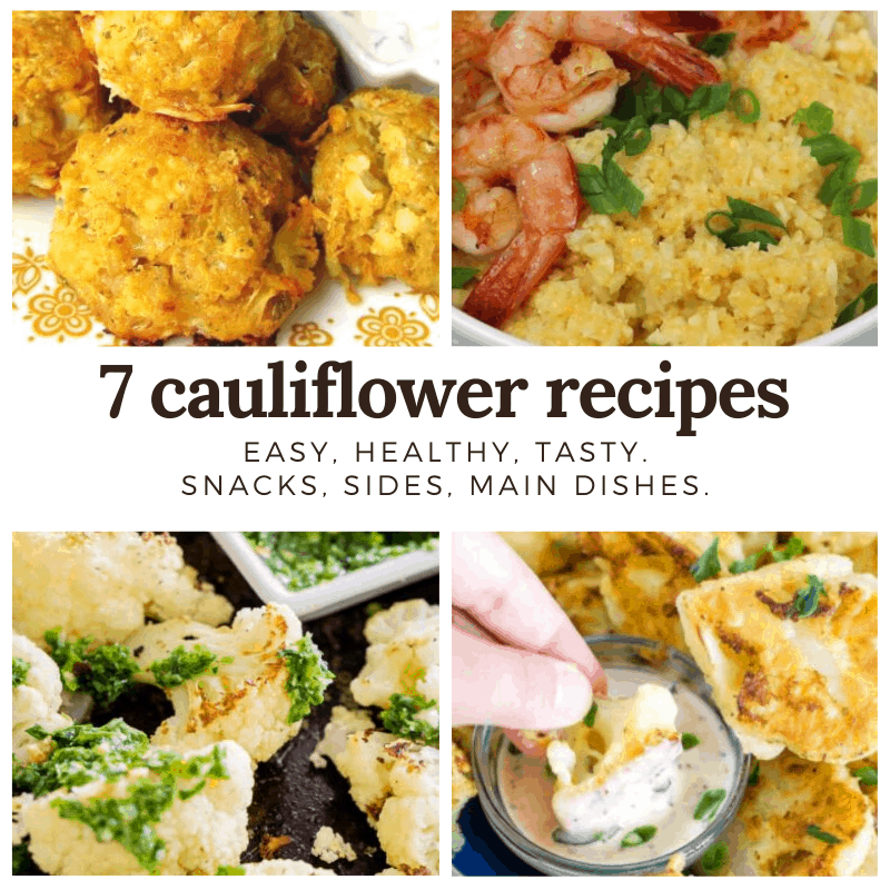 collage graphic of cauliflower recipes