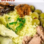 couscous with tuna bowls pinterest graphic