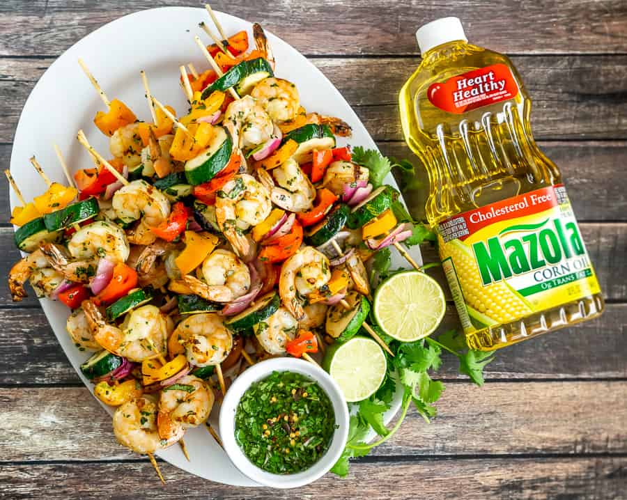 grilled shrimp and vegetable skewers