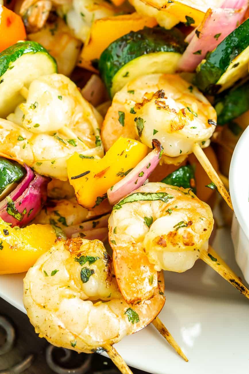 grilled shrimp and vegetable skewers