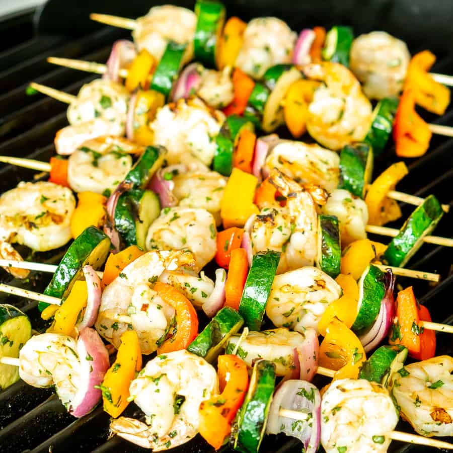 grilling shrimp and vegetable skewers