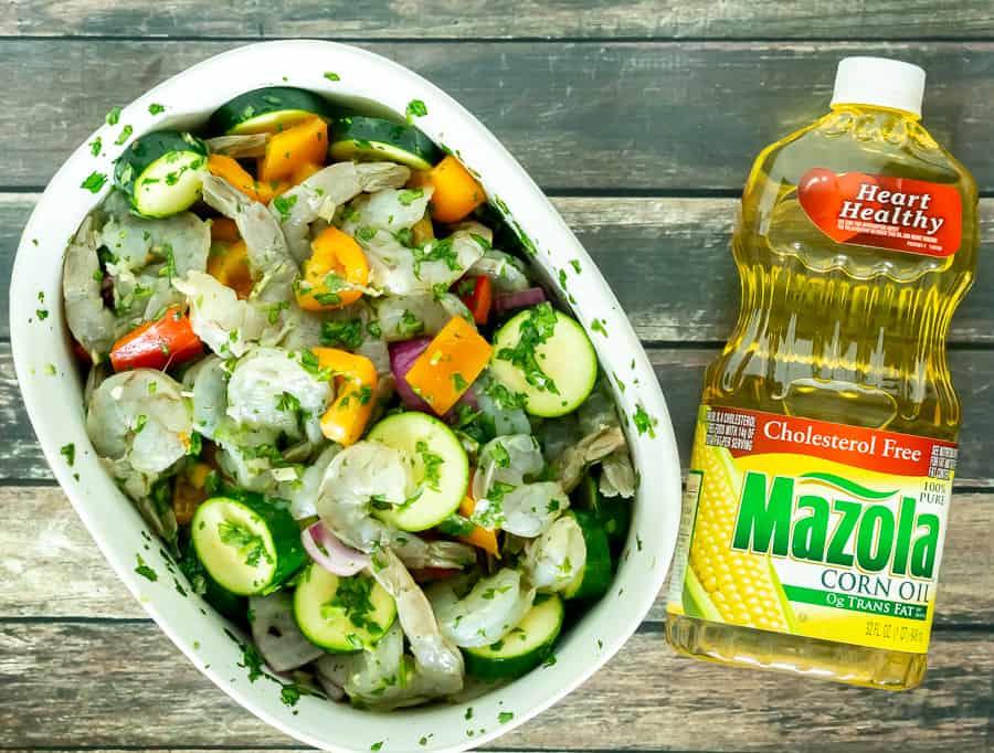 marinating shrimp and vegetables
