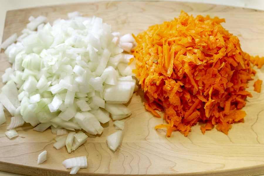 onion and carrot for vegan instant pot rice pilaf recipe