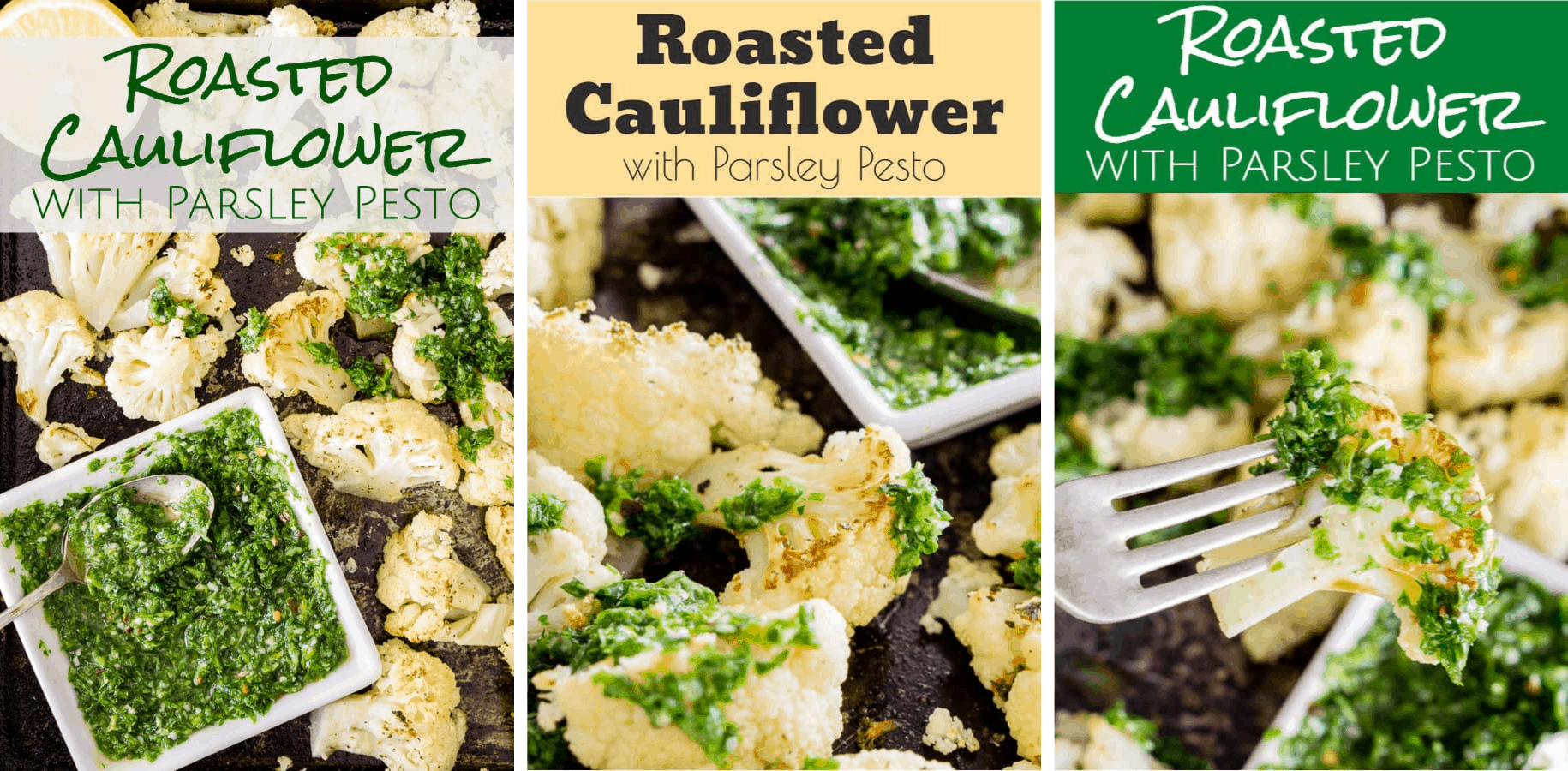 collage of 3 roasted cauliflower pinnable images