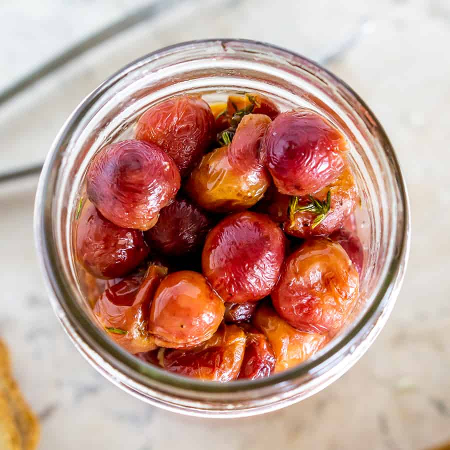 roasted grapes in a jar