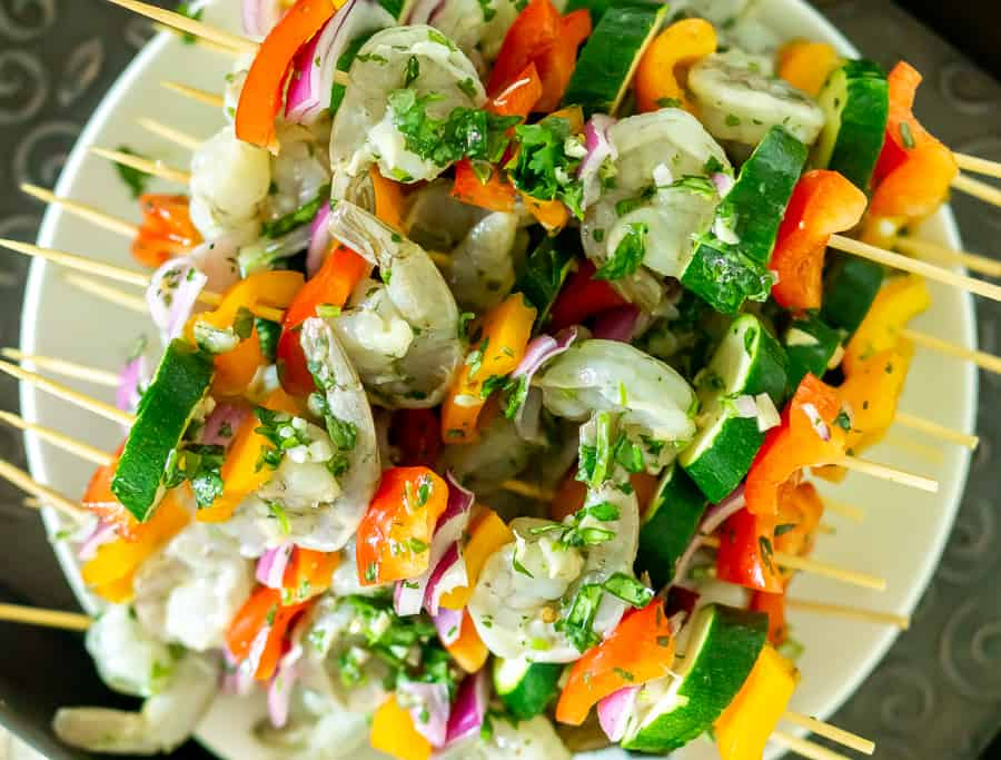 shrimp and vegetable skewers ready to grill