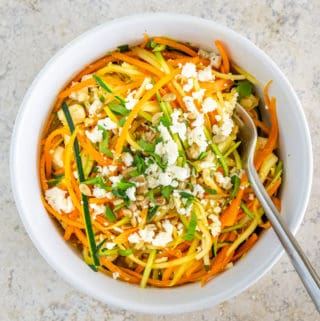 spiralized carrot zucchini salad with feta