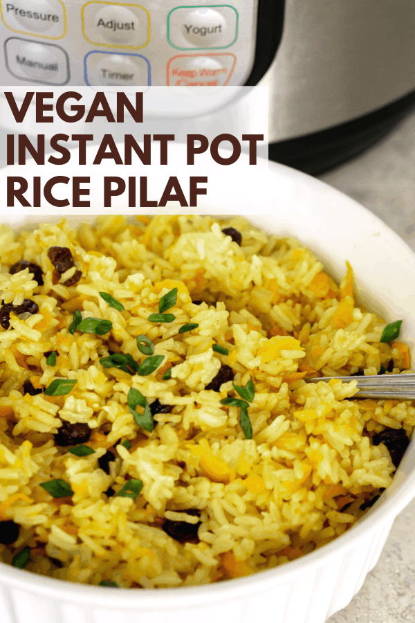 vegan instant pot rice pilaf pinterest graphic