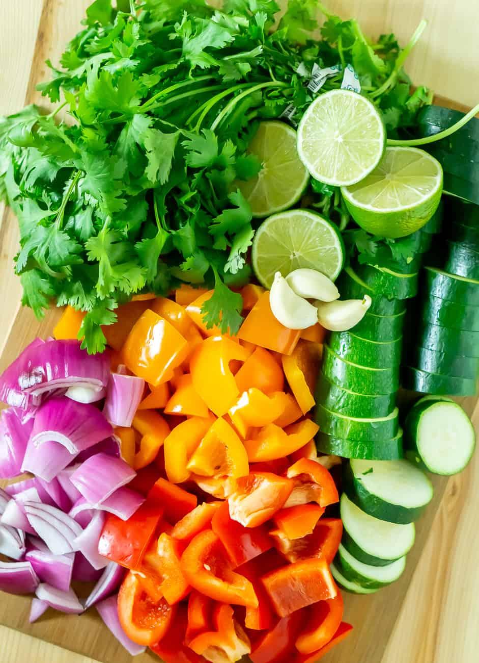 vegetables for shrimp skewers