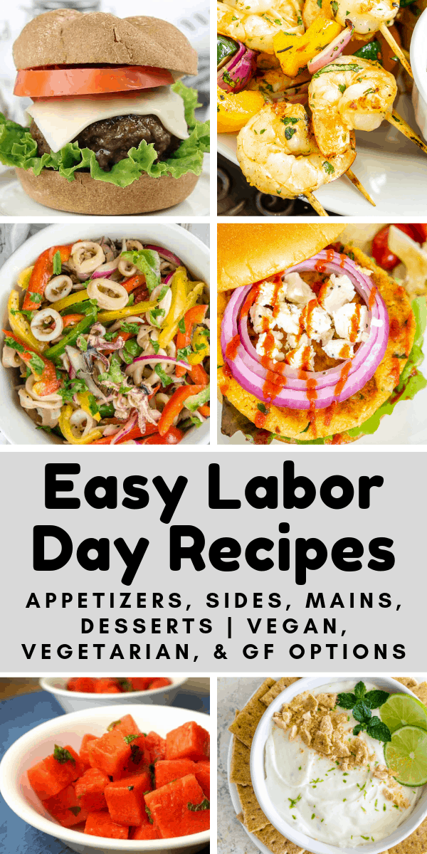collage of easy labor day recipes