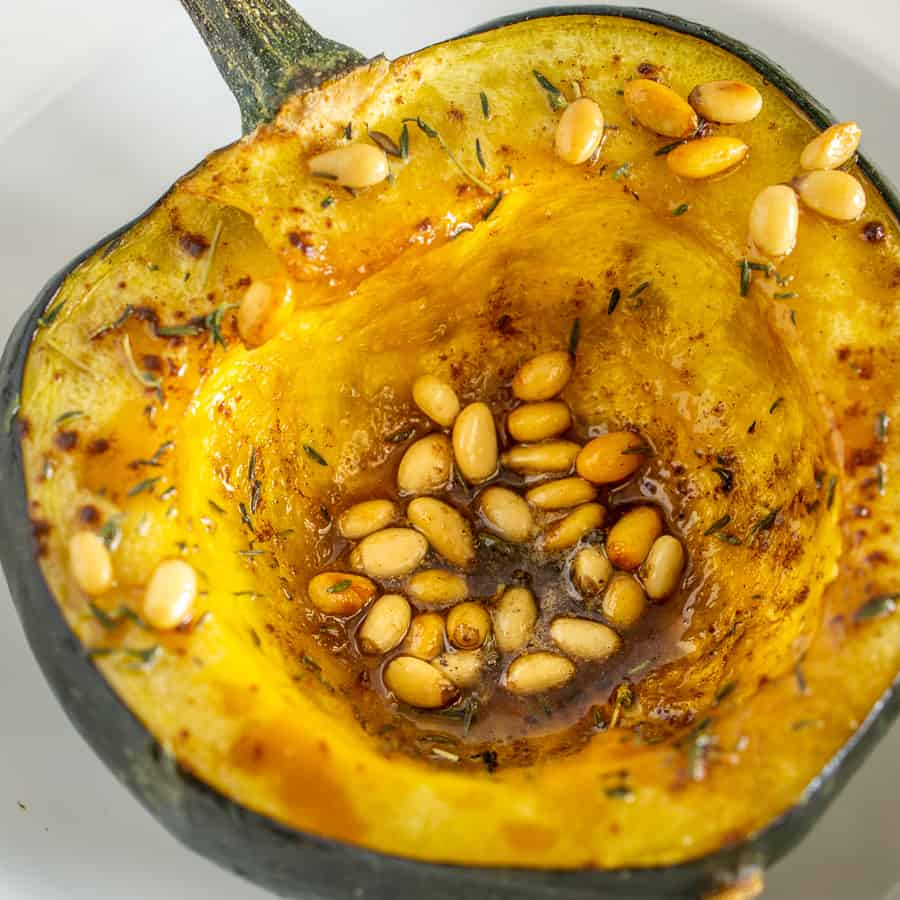 honey roasted acorn squash half