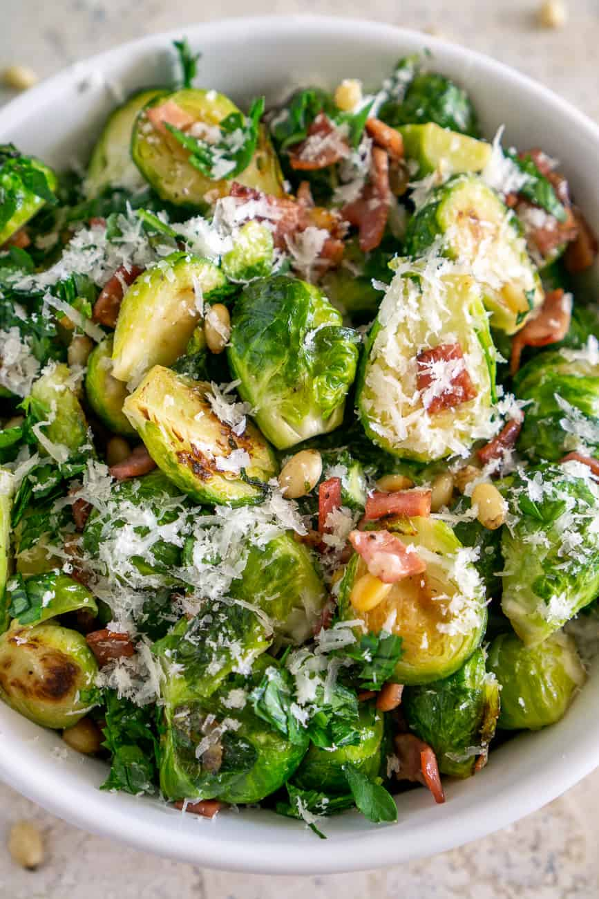 image of pan seared brussels sprouts with turkey bacon in a bowl