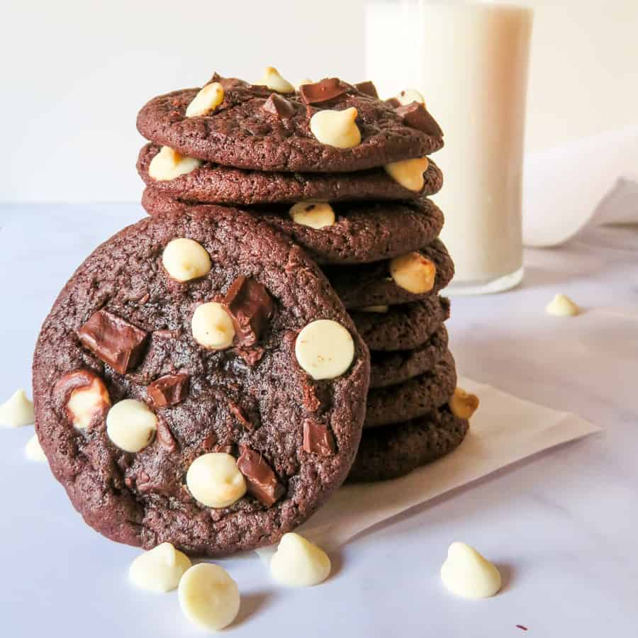 stack of chewy chocolate cookies