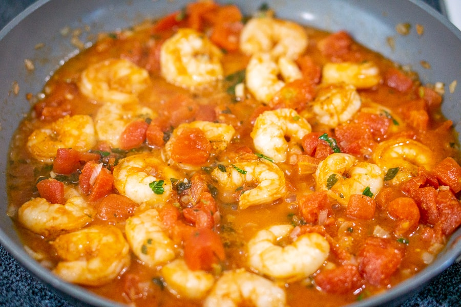 shrimp in tomato sauce in a skillet