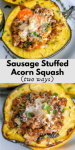 pinterest graphic for sausage stuffed acorn squash