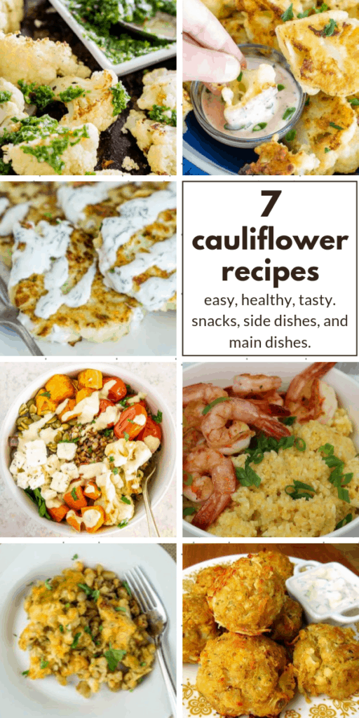 collage of cauliflower recipes