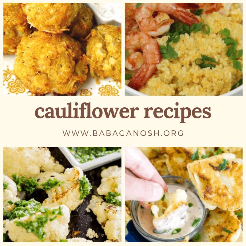 cauliflower recipes collage
