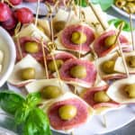 salami cheese and olives appetizer