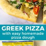 pinteresy collage graphic of greek pizza