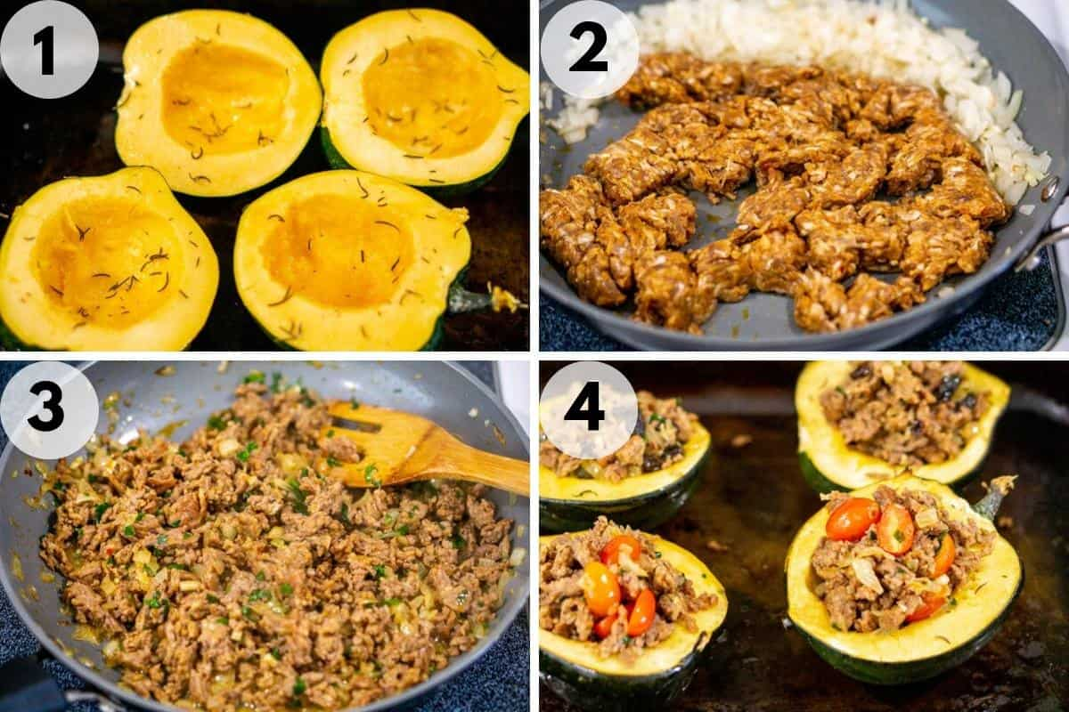 collage of images on how to make sausage stuffed acorn squash