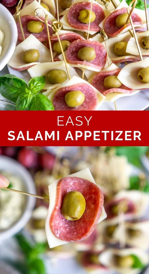 pinnable image of easy salami appetizer