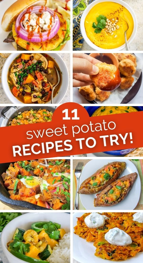 collage of sweet potato recipes and how to prepare sweet potatoes