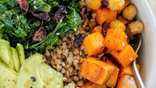 Vegan Buckwheat Bowls with Kale and Chickpeas