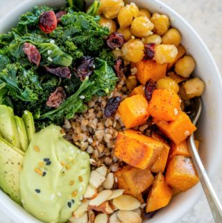 vegan buckwheat recipe with kale, chickpeas, and sweet potato