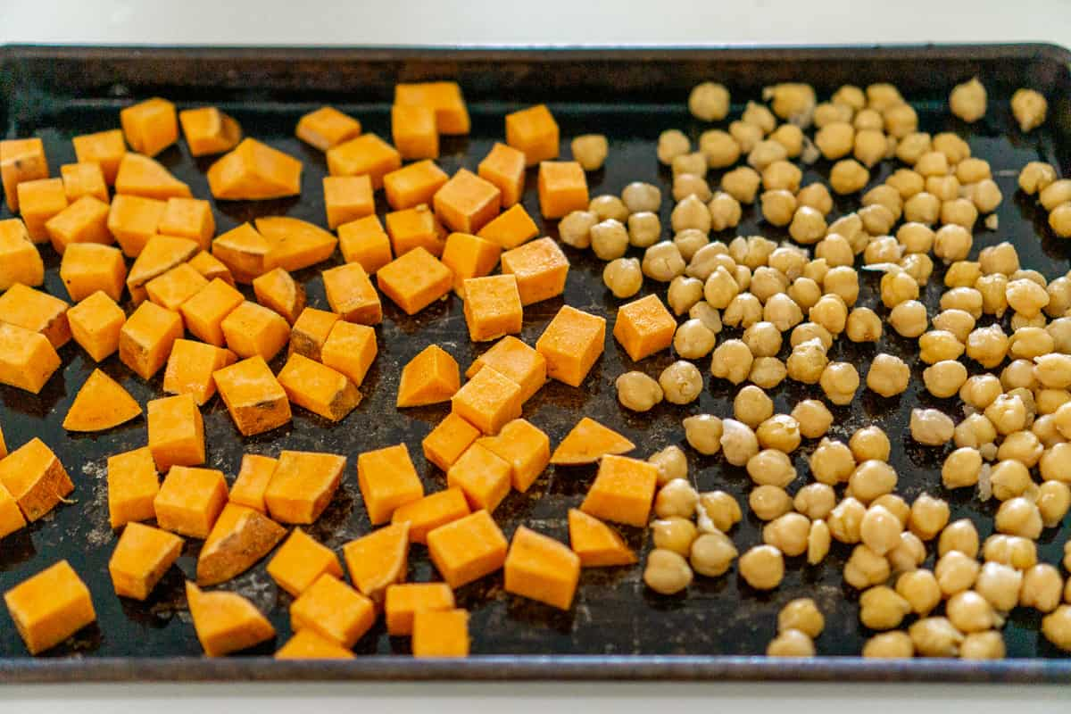 roasted sweet potato and chickpeas on a sheet pan