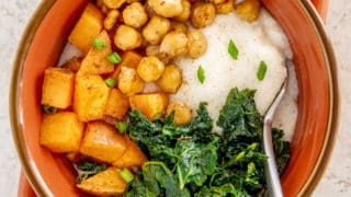 Creamy Grits with Cajun Sweet Potato, Kale, and Chickpeas