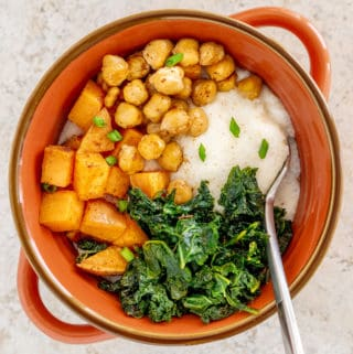 overhead image of cajun chickpeas and sweet potato with creamy grits