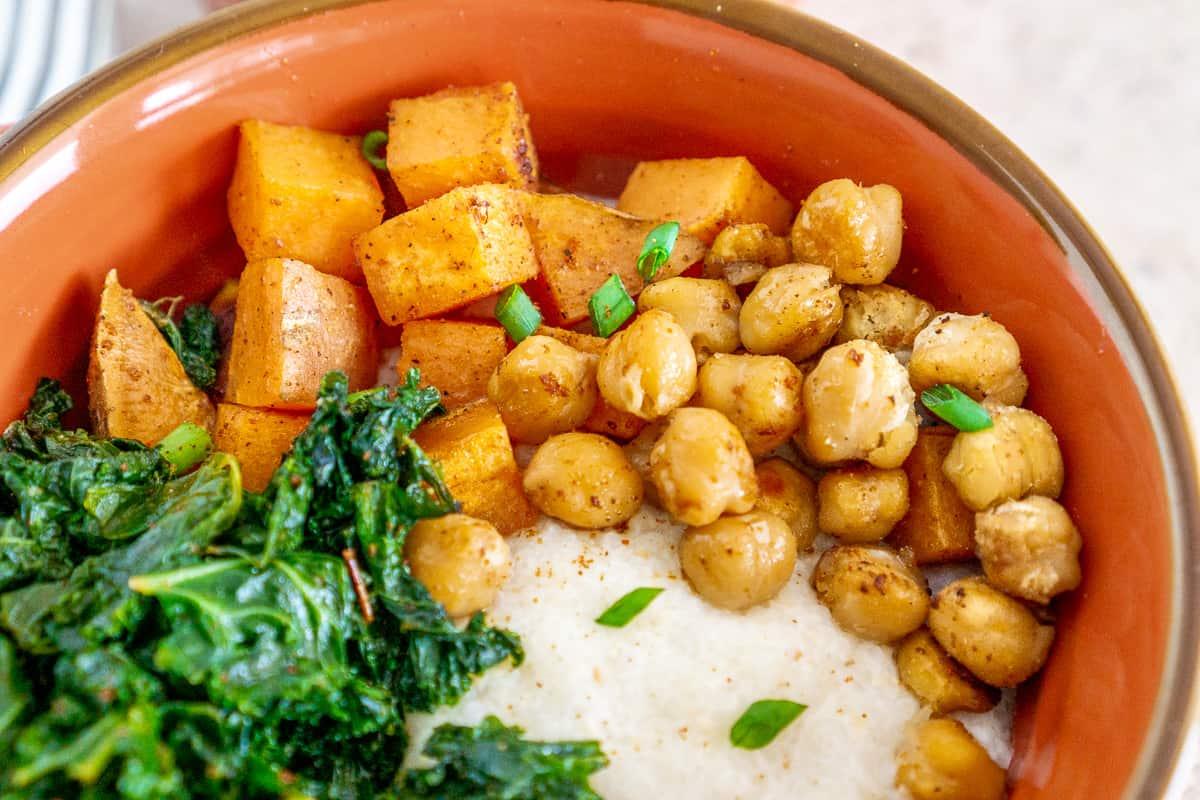 cajun sweet potato and chickpeas over grits