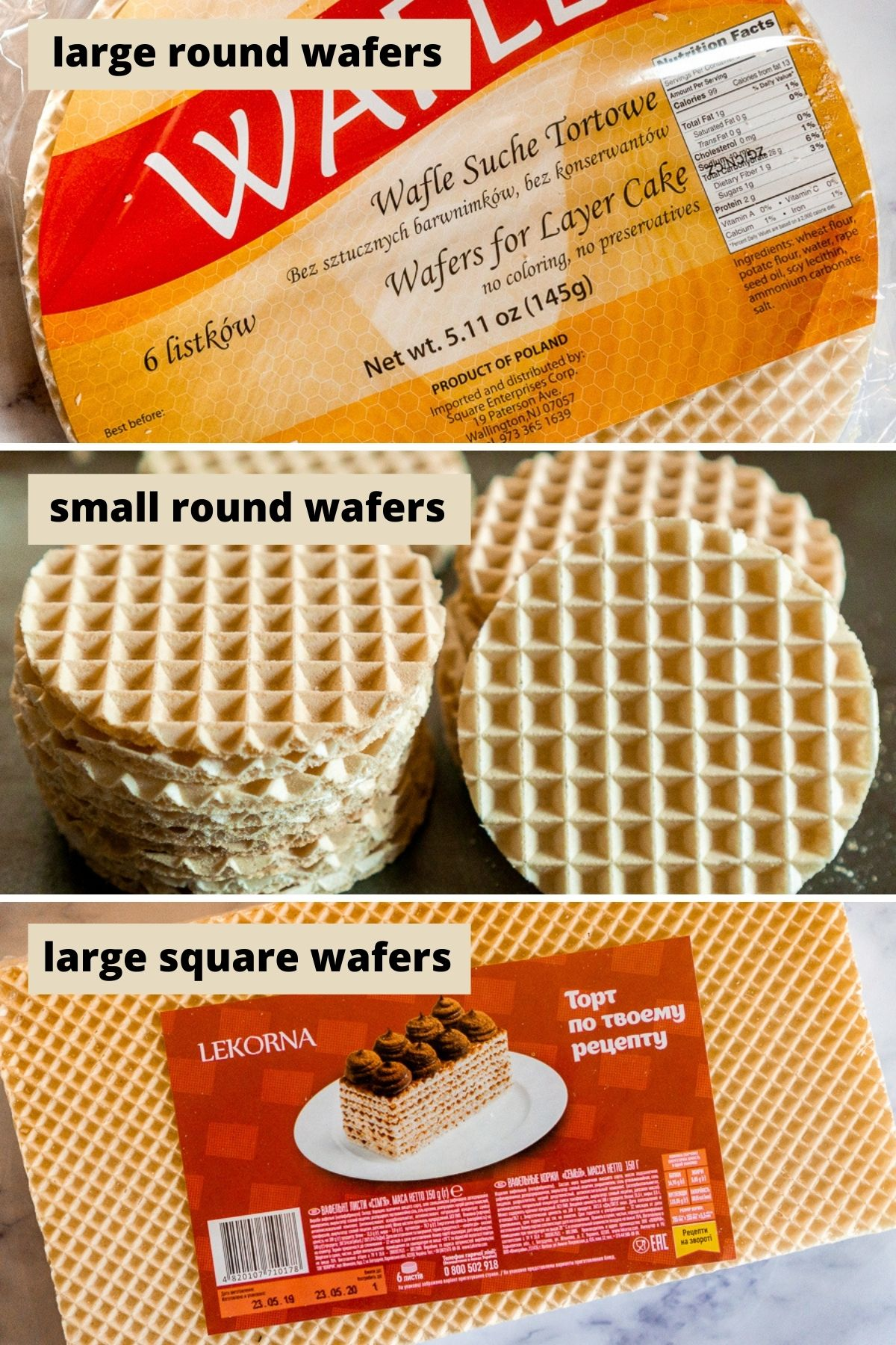 collage of 3 shapes of polish wafers for making dulce de leche wafer cake