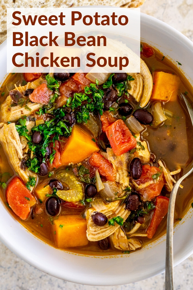 black bean sweet potato chicken stew pinterest graphic