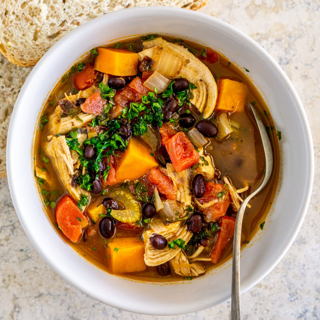 black bean sweet potato chicken stew in a bowl