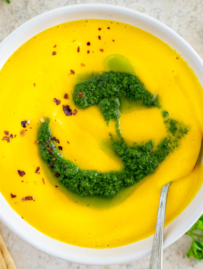creamy carrot soup in a bowl